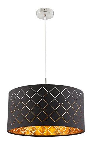 runde Hänge Lampe Samt schwarz-Gold Ess Retro Pendel Leuchten Wohn Schlaf Zimmer