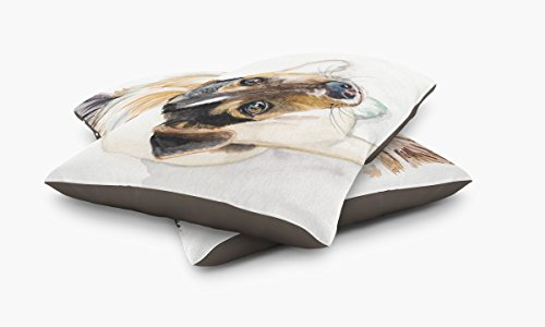 Redstreake Creative Living, Jack Russel dog Pet Bed, Coral Fleece Top with Cotton Duck Bottom (dark brown), Zipper with INSERT (30 x 40'') by Redstreake Creative Living (Image #2)