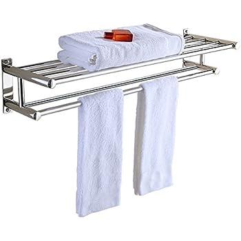 this item aluminum double towel bar 24 inch wih 5 hooks bathroom shelves towel holders bath towel rack bathroom shelves