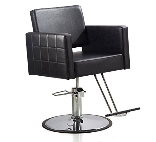 FlagBeauty Black Hydraulic Barber Styling Chair Hair Beauty Salon Equipment Round Base