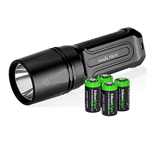 FENIX TK35 2015 version 960 Lumen CREE XM-L2 U2 LED Tactical Flashlight with 4 X EdisonBright CR123A Lithium batteries, Holster & Lanyard bundle