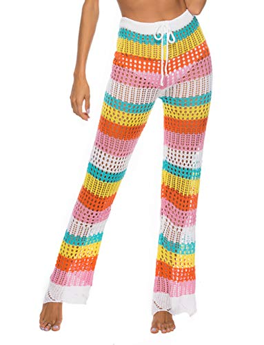 Womens Colorblcok Stripe Leggings Cotton Knit Crochet Flower Long Spring Summer Pants