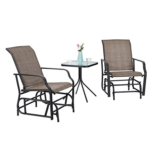 PHI VILLA Patio Swing Glider Set 3 PC Bistro Set with 2 Rocking Chairs & 1 Table, Brown For Sale