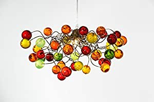 Hanging Lights Chandalier - handmade warm colored bubble Ceiling Lamp for Bedroom lighting, Living room lighting - Unique Decorations for Home & Kitchen - Gift Ideas