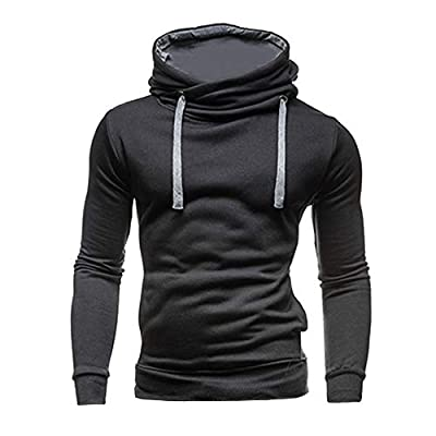 ANJUNIE Men's Solid Muscle Hooodies Pullover Hooded Long Sleeved Sweater Tops Sweatshirt Coat