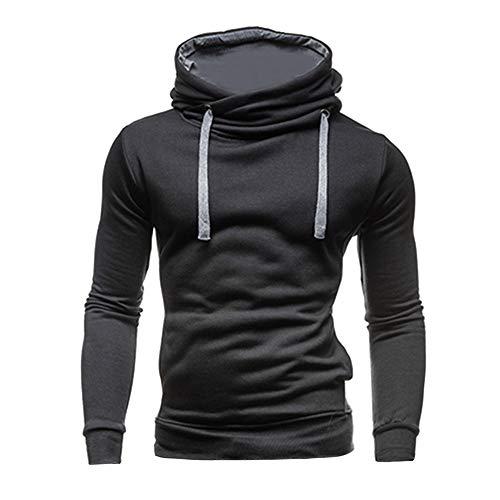 - Ulanda Men's Turtleneck Pullover Hoodies Long Sleeve Slim Fit Casual Solid Hooded Sweatshirts Tops