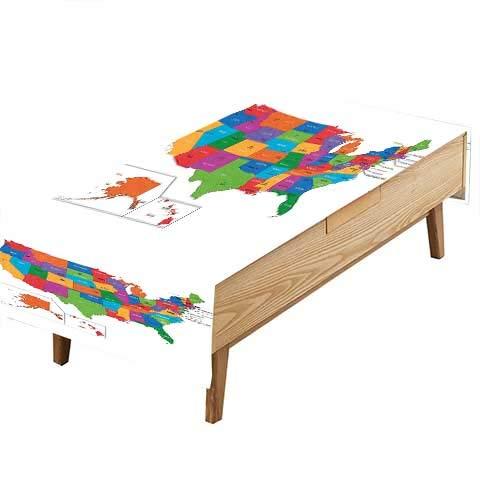 PINAFORE Decorative Tablecloth Map States Capital Cities Washington