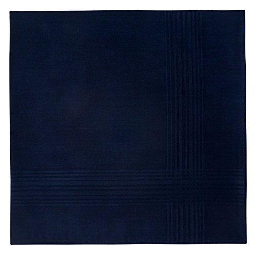 Retreez 6 Piece Pure Cotton Solid Color Men's Handkerchiefs Hanky Hankie - Navy Blue