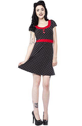 Sourpuss Polka Dot Beki Dress Black S
