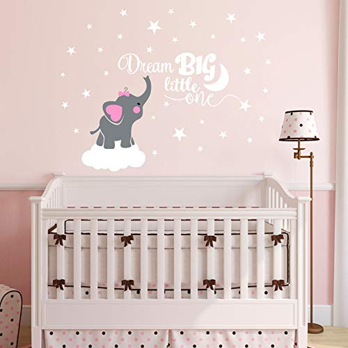 Dream Big Little One Elephant Wall Decal, Quote Wall Stickers, Baby Room Wall Decor, Vinyl Wall Decals for Children Baby Kids Boy Girl Bedroom Nursery Decoration(Y03) (Soft Pink(Girl))