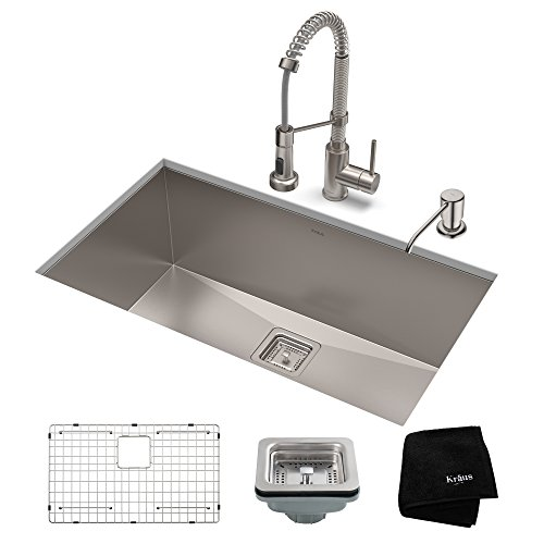 KRAUS KHU32-1610-53SS Set with Pax Sink and Bolden Commercial Pull Faucet in Stainless Steel Kitchen Sink & Faucet -