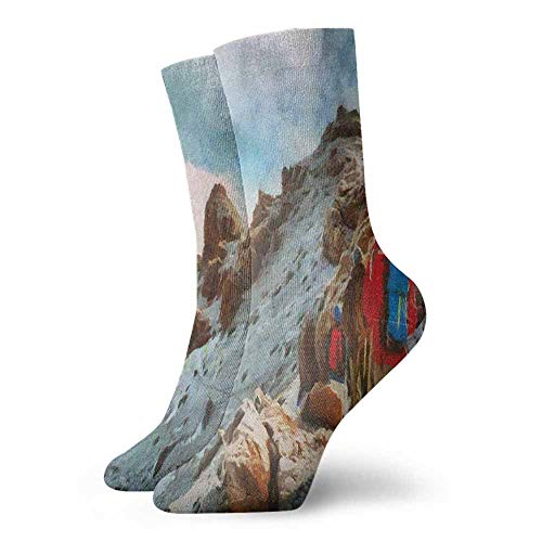Sports socks Group of Trekkers Hiking among Snows of Kilimanjaro in Winter in Painting Style Suitable for young people