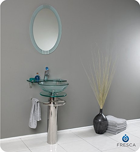Fresca Bath FVN1019 Ovale Glass Vanity with Frosted Edge (Frosted Glass Vessel Pedestal Vanity)