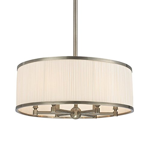 Hastings Transitional Chandelier (Hastings 6-Light Chandelier - Historic Nickel Finish with White Pleated Silk Shade)