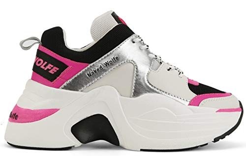 Combo Chaussures White Plates Bianco Femme Track rosa Wolfe Naked Plateforme 0xw5qYfY6