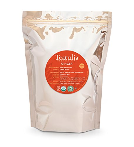 Teatulia Organic Ginger Herbal Tea 50 Premium Pyramid Tea Bags