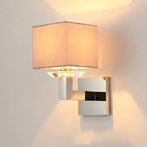QARYYQ Stainless Steel Modern Wall Lamp Single Headboard Lamp Simple Living Room Dining Room Wall Lamp Wall lamp (Color : Gray)