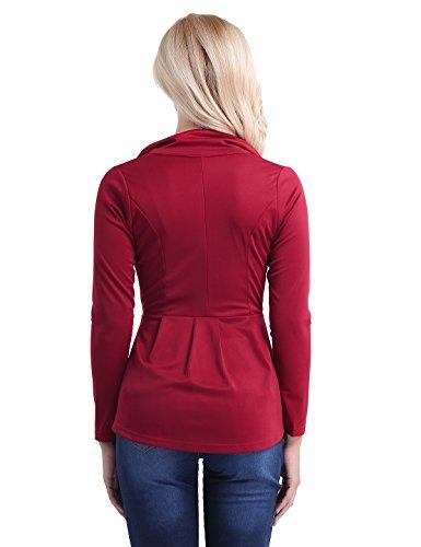 Longues Avec Haut Chemisier Bouton Blouson À Un Manches S 2xl Tiaobug Jacket Veste Pour En Blazer Top Hiver Bordeaux Femme Costume Manteau Coton Asymétrique Automne wq7TfxXf0