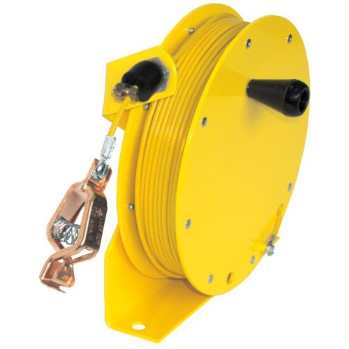 Lind Equipment ML2930-MY125 Heavy Duty Static Grounding Reel, Manual-Rewind, 125ft, Yellow Hytrel-Coated Plated Steel Cable, LE-21C Alligator Clip