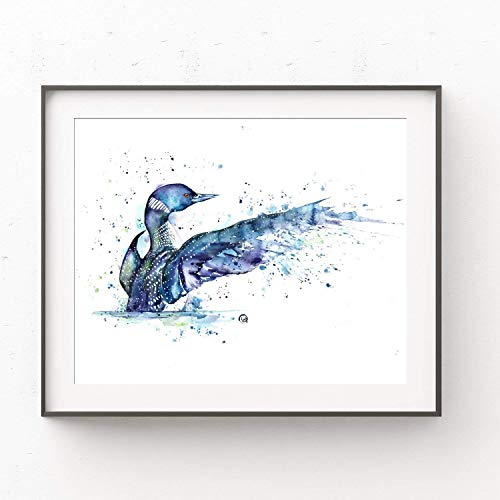 Loon Bird Wall Art by Whitehouse Art | Home Decor, Bedroom Decor, Living Room Decor, Artwork for Home Walls, Woodland Themed Cabin |Professional Print of a Loon Original Watercolor Painting | 5 Sizes ()