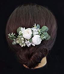 Succulent Peony White Floral Headpiece B...
