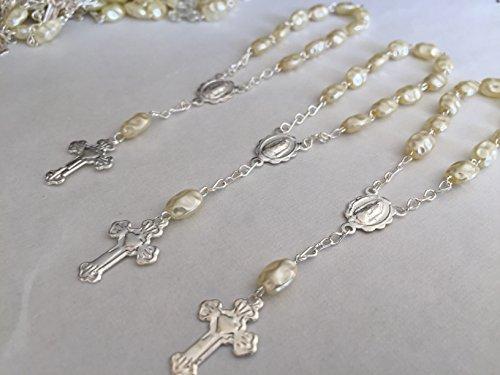 25 Pc Ivory Color Baptism Favors Mini Rosaries Faux Pearls Rice Shaped Beads/ Recuerditos De Bautismo/ Christening Favors/ Decenarios/ Decades/ Finger ()