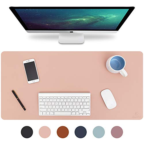 "Knodel Desk Pad, Office Desk Mat, 31.5"" x 15.7"" PU Leather Desk Blotter, Laptop Desk Mat, Waterproof Desk Writing Pad for Office and Home, Dual-Sided (Pink)"