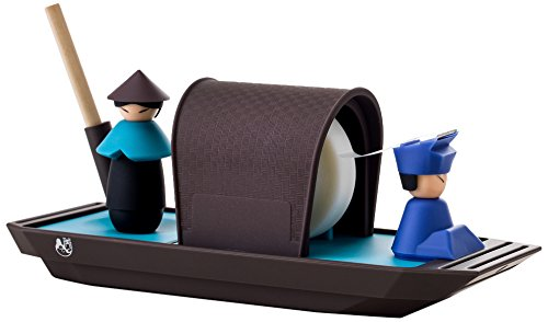 iThinking Formosa Treasure ITK-CM8002-B Rowboat Desk Accessory, Includes Tape Dispenser, Storage Box, Pen Holder, Magnetic Paper Clip Holder, Blue