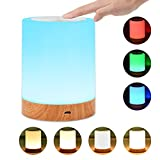 Comkes Touch Lamp, Bedside Table Lamp for Bedrooms Living Room Portable Night Light Desk Lamps with Rechargeable Internal Battery Dimmable 2800K-3100K Warm White Light & Color Changing RGB