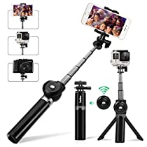 Selfie Stick Tripod, Leelbox Bluetooth Selfie Stick Extendable Monopod Portable Selfie Pole Stand for Gopros, DSLR, Cameras & iPhone Android Samsung Cellphones with Detachable Wireless RemoteControl