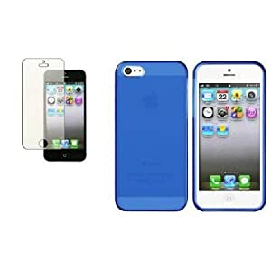 Quaroth CommonByte Clear Frost Dark Blue TPU Rubber Gel Cover Skin Case For iPhone 5+Diamond Shield