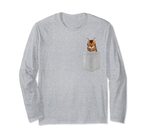 Unisex Bengal Cat In Your Pocket Long Sleeve Shirt 2XL Heather Grey