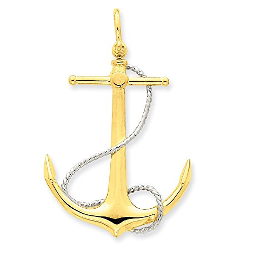 14k Yellow Gold Two-Tone 3-D Anchor with - Tone Accent Beads Shopping Results