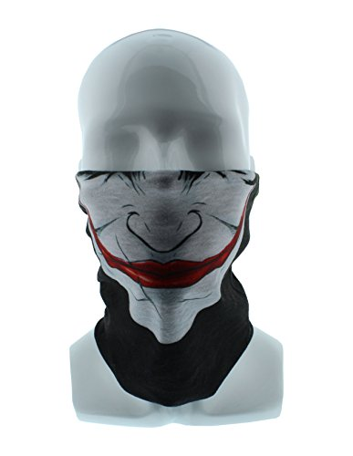 Redneck Convent Joker Smile Face Black Seamless Wide Tube Bandana Balaclava Face Mask for Men & Women – Paintball, Ski, Dust, -