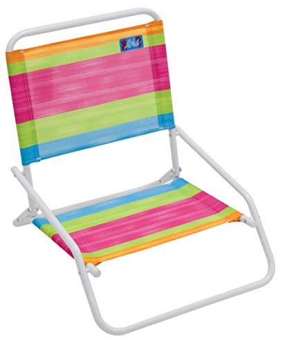 RIO Beach Wave 1-Position Beach Folding Sand Chair - Summer Stripes (Kids Wave Chair)