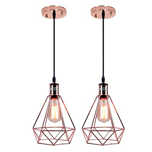 - Pauwer Geometric Metal Cage Pendant Light Pyramid Vintage Edison Ceiling Pendant Light Fixture (Rose Gold Pack of 2)