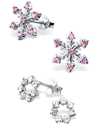 925 Sterling Silver Hypoallergenic Set of 2 Pairs Pink CZ Snowflake & Round Crystal CZ Wreath Stud Earrings for Girls Christmas (Nickel Free) 20787