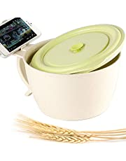 Shopwithgreen 47 OZ Microwavable Ramen/Noodle Bowl with Lid, Unbreakable Wheat Straw Soup Bowls with Handle, Extra Large Mug for Adults & Children, Microwave & Dishwasher Safe