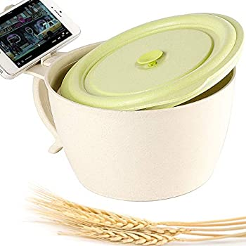 Shopwithgreen Microwave Noodle Bowls With Lid - 40 OZ Large Wheat Straw Soup Mug with Phone Holder - Microwave & Dishwasher Safe, for soup, noodle, ramen(Green)