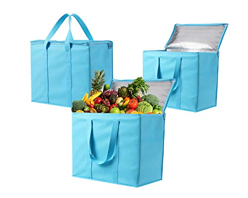 3 Pack Insulated Reusable Grocery Bag by VENO, Durable, Heavy Duty, Large Size, Stands Upright, Collapsible, Sturdy…