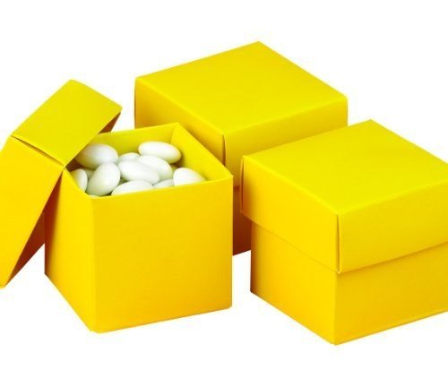 Hortense B. Hewitt Wedding Accessories 2-Piece Favor Boxes, Yellow, Pack of 25 (Two Favor Piece Boxes)