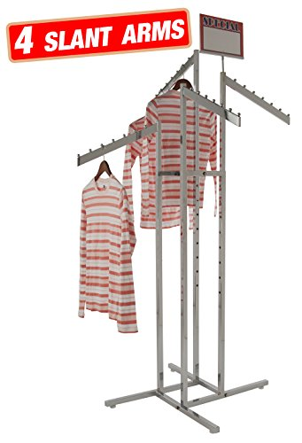 Econoco - Chrome 4-Way Clothing Rack, 4 Slant Adjustable Height Arms, Square Tubing, Perfect for Clothing Store Display