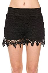 New Kathy Lace Crochet Shorts with Inner Lining (Small, Beige/Coral)