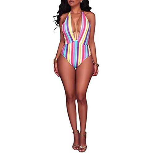 Aro Lora Women's One Piece colorful Stripe High Cut Backless Bikini Swimsuit hot sale