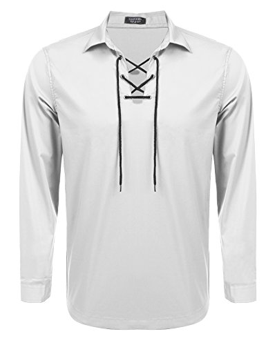 Coofandy Mens Scottish Jacobite Ghillie Kilt Shirt Casual Long Sleeve Lace-up Shirt,Off White,X-Large