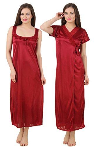 1e75b2ce2d ... Fasense Women Satin Nightwear Sleepwear 2 PCs Set of Nighty Wrap Gown  GT004 super cute 8adcb . ...