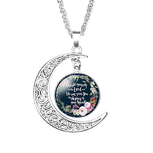 LEODI Charm Crescent Moon Christian Necklace Religious Bible Verse Gift for Women Girls,Glass Cabochon Pendant Silver Hollow Crescent Moon Choker Vintage Chain Jewelry
