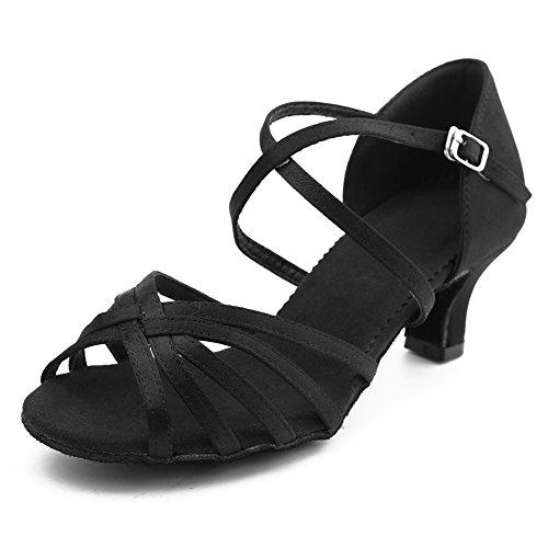 Negro Latino Zapatillas Mujer salón de WZJ Baile HIPPOSEUS de Abierta Punta 5cm Tiras Cl Modelo Cruzadas FZdwx5nYq