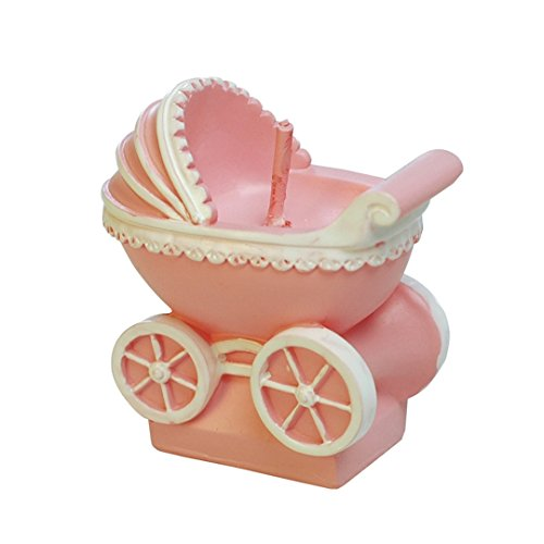ILIKEPAR Birthday Candles Smokeless Cake Topper Candle for Party Supplies and Wedding Favor (Pink pram) Baby Carriage Candle Favor