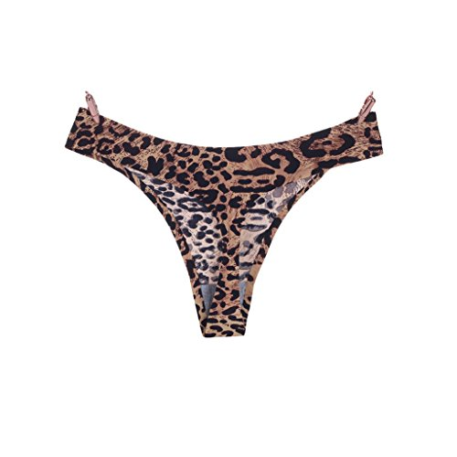 HANERDUN Seamless Thongs Leopard Prints Underwear Comfort Tback 2 Pcs/Pack